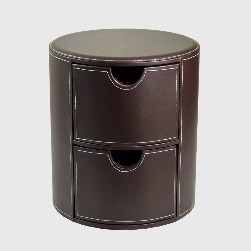 Fashion brief leather drawer storage stool circle leather bedsprings cabinet shoes stool