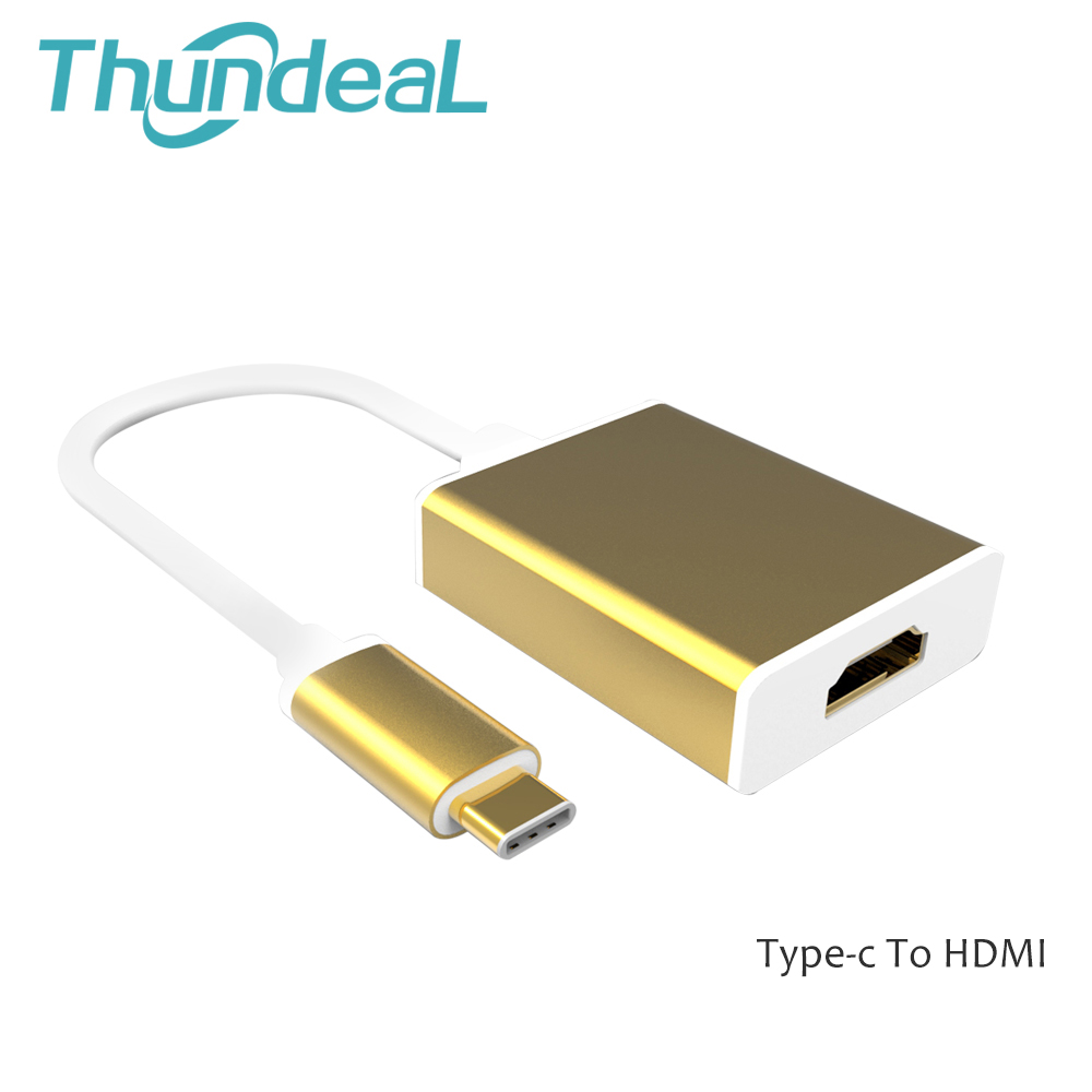 Newest Golden Aluminum USB 3.1 Type c to HDMI/VGA/DVI Adapter Cable for Newest 12inch Macbook USB-C Connect to HDTV 1080P(China (Mainland))