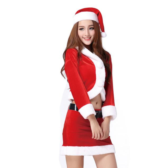 Ladies Sexy Santa Costume Women Mrs Christmas Party Fancy Two Parts Dress Cosplay Suit
