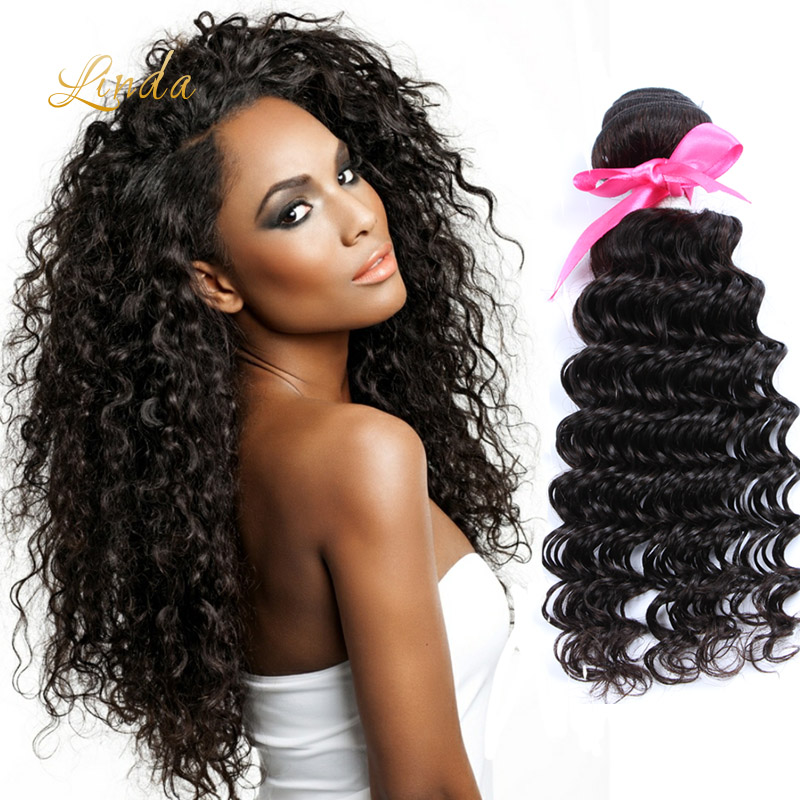 Deep curly brazilian hair Unprocessed Brazilian Curly Wave Virgin Human Hair Deep Curly Weave Weft Natural Black Color 3PC/Lot