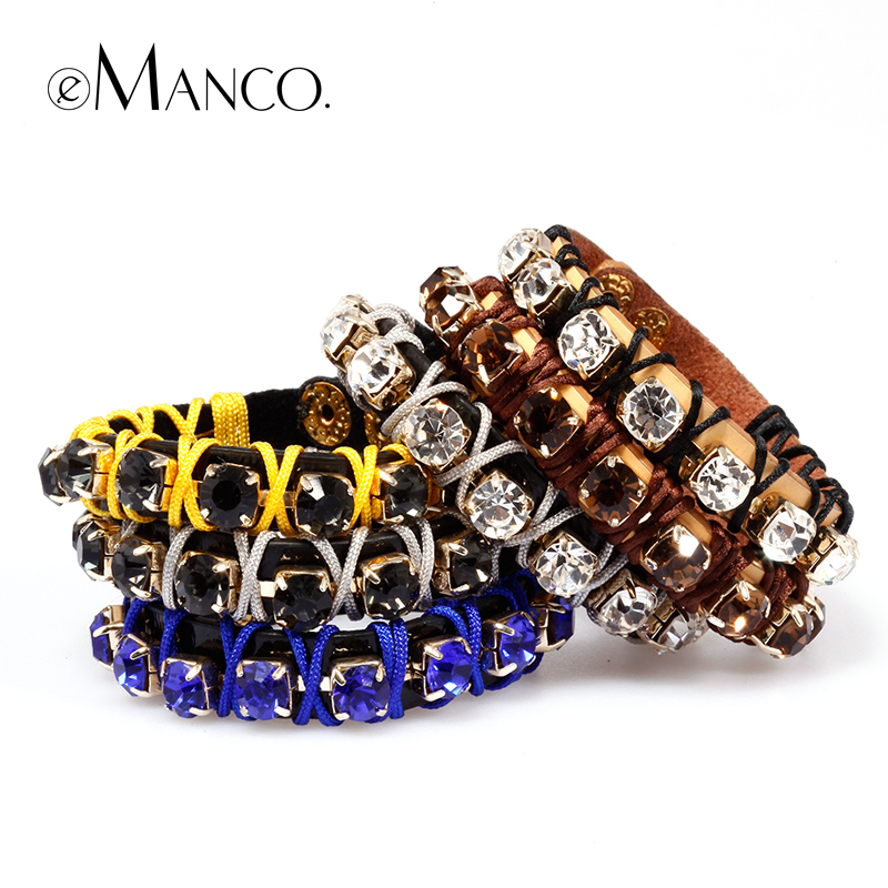 product E Manco to create 2014newstyle Multicolor handmade woven leather female fashion claw chain bracelet adorn article free shipping