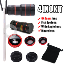 Universal Clip 4 in1 8X Zoom Lens Fish Eye Wide Angle Macro Mobile Phone Lens for iPhone 5S 6 Samsung Galaxy S6 S5 HTC All Phone