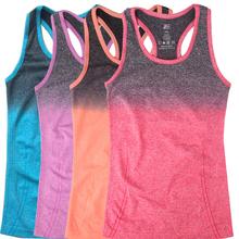 Neue damen farbverlauf Yoga shirts laufen elastische atmungsaktive fitness-shirt weste damen doppelte bewegung tank-top für die frau(China (Mainland))