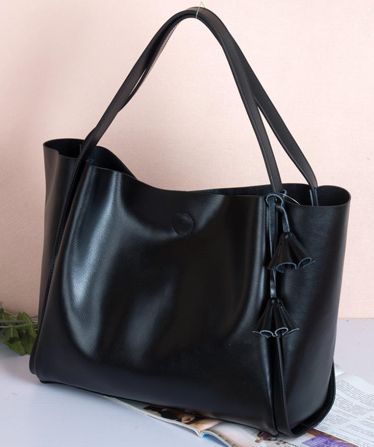 NO.1 New 2015 Women Genuine Leather Handbags Tassel Famous Brand Handbag + Leopard crossbody Women Messenger Bags = 2 Bags HOT !<br><br>Aliexpress