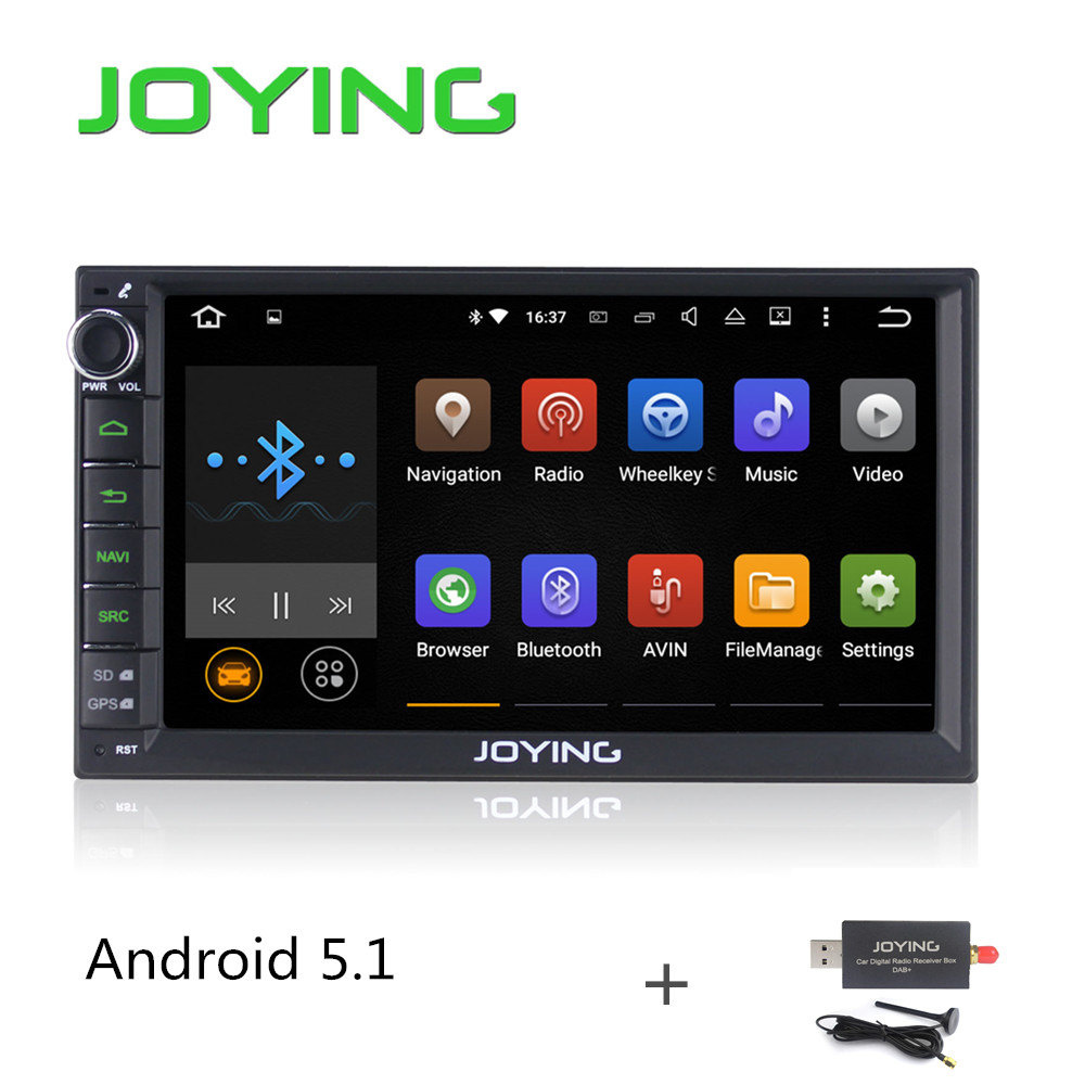 "Joying Universal Car PC Radio 7"" Double 2 Din Android 5.1 Lollipop Quad Core 1024*600 HD GPS Navigation Best Head Unit+DAB+(China (Mainland))"