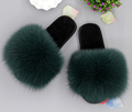 Fashion Women Indoor Outdoor Real Fox Fur Plushed Trimed Wool Winter Slippers