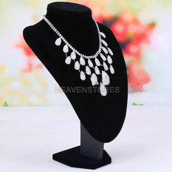 Black Velvet Necklace Pendant Jewelry Bust Display Rack Stand 35*24cm hv3n(China (Mainland))