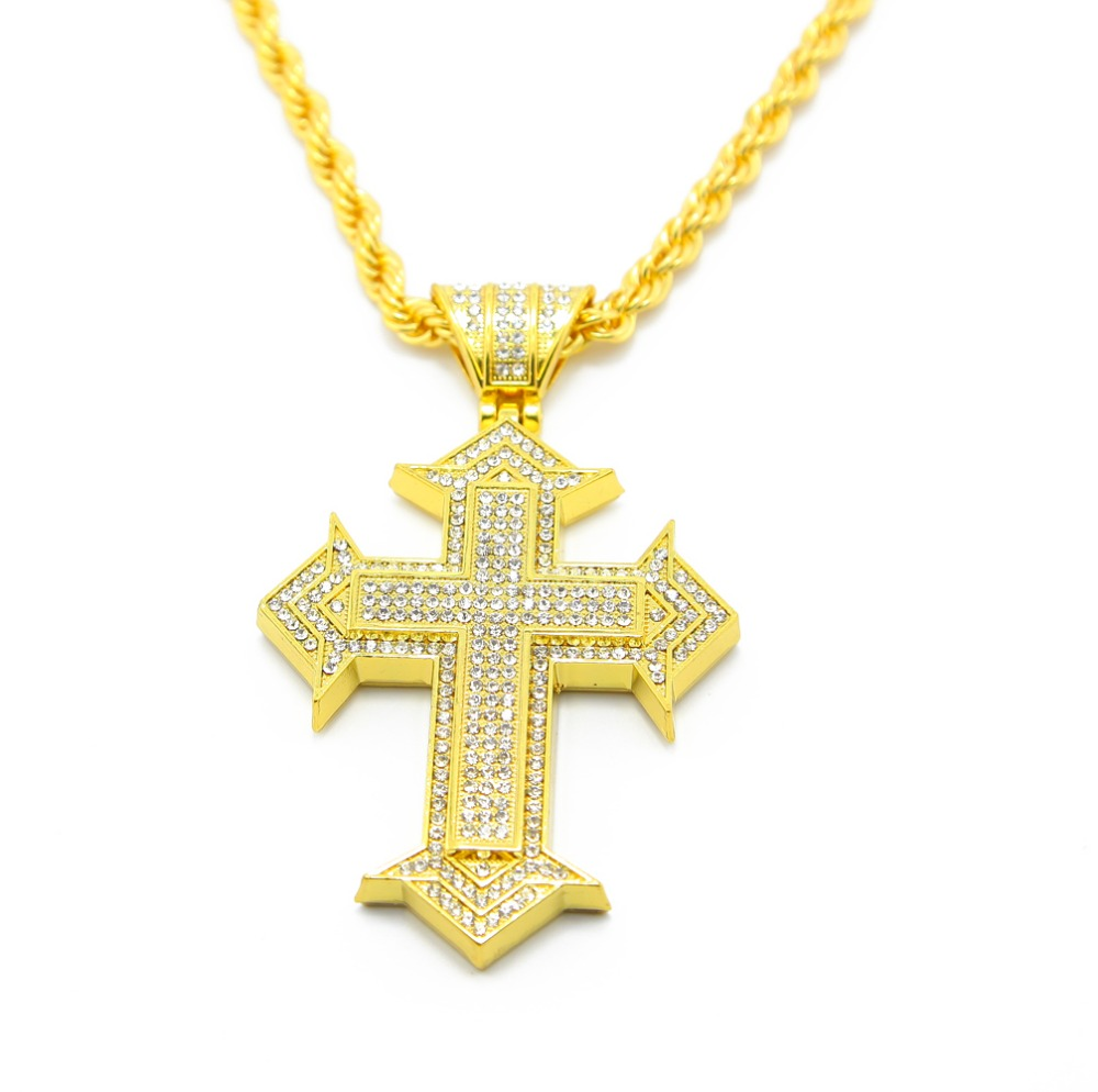 get cheap western rhinestone cross necklaces