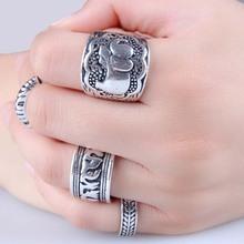 4PCS Vintage Punk Ring Set Unique Carved Antique Silver Elephant Totem Leaf Lucky Rings for Women RJ041