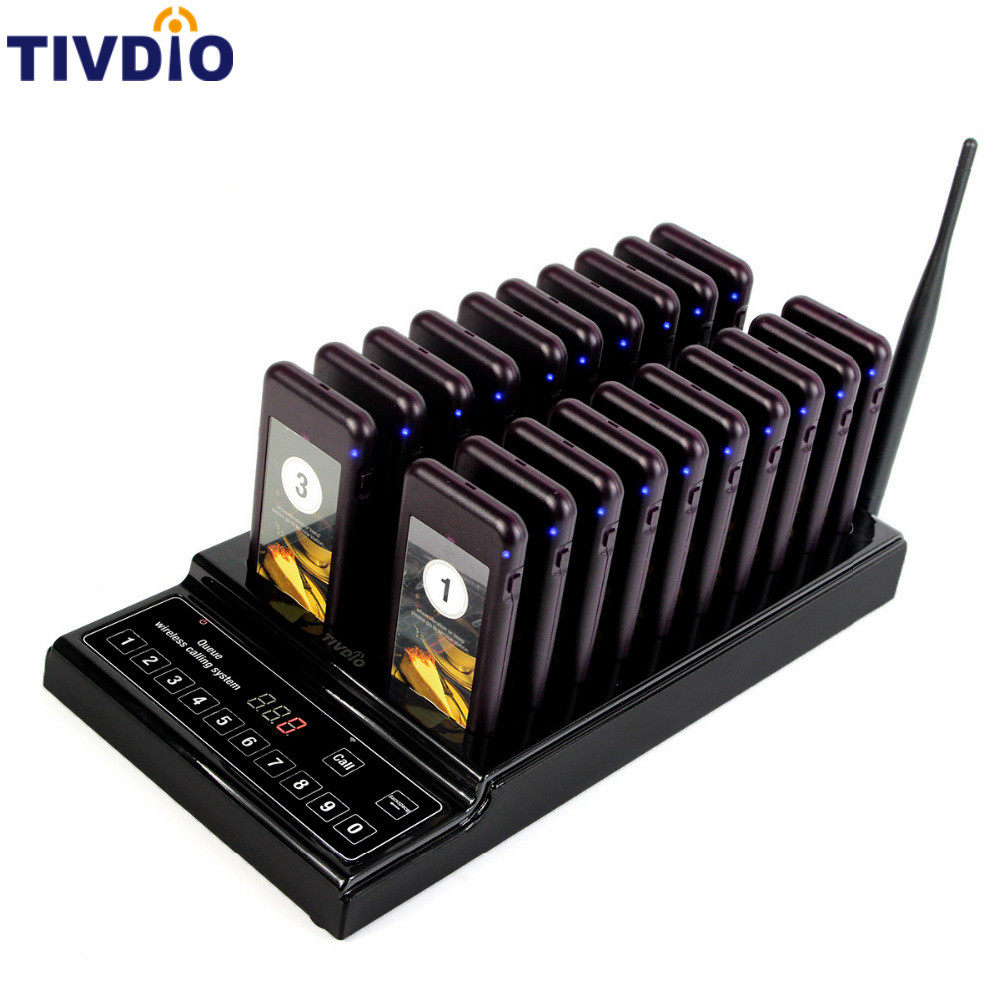 TIVDIO 20 Wireless Coaster Pager Restaurant Paging Queuing System Call Button Pager 999 Channel Restaurants Equipments F9402A(China (Mainland))