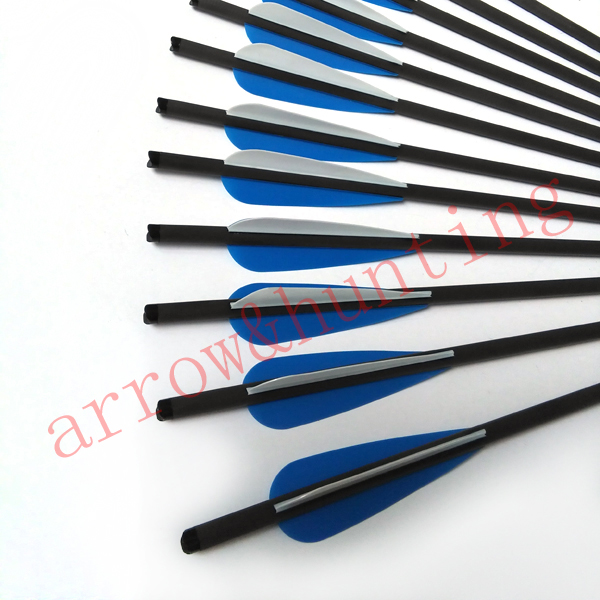 12pcs 17 hunting crossbow arrow and 6pcs silver arrow head archery bow arrow with carbon shaft