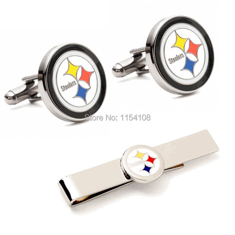 Pittsburgh Steelers replica championship logo gift set sports cufflinks & tie clip cuff links copper cufflinks for men(China (Mainland))