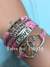 Free Shipping!Braided Pink Leather Ribbon Rope Double Heart Imperial Crown LOVE Charm Bracelet Fashion Women Alloy Jewelry K-932(China (Mainland))