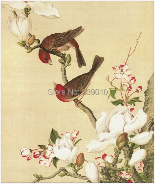 Wall Art Flowers And Birds : Free shipping traditional chinese oil painting canvas