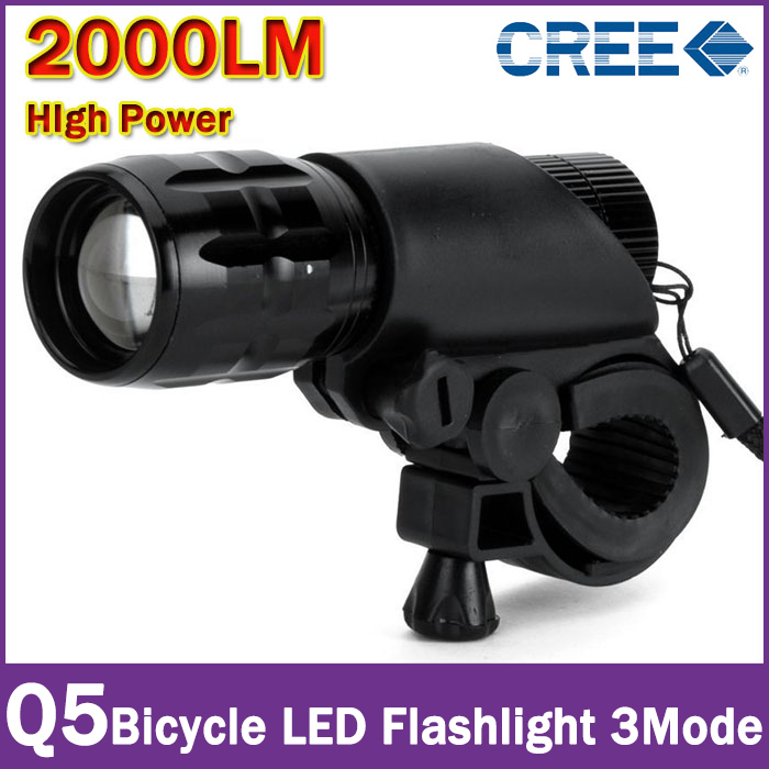 New Bicycle Light 7 Watt 2000 Lumens 3 Mode CREE Q5 LED Bike Light Front Torch Waterproof + Torch Holder(China (Mainland))