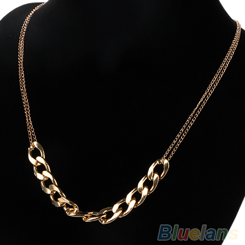 Hot New Charm two layer Chains Metal Plated Gold Circles Collar Pendant Necklace Necklaces for Women Luxury 02IO(China (Mainland))