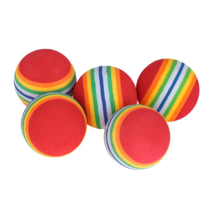 5pcs Rainbow Golf Balls EVA light weight and flexible Practice Golf Ball Swing Practice Training Aids(China (Mainland))