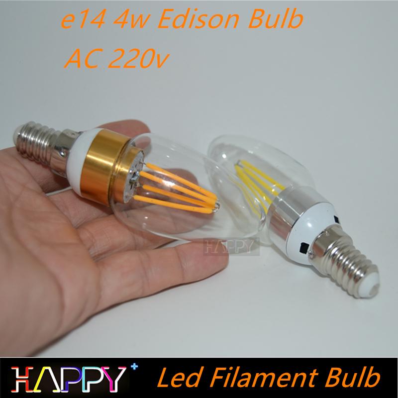 Cheap Price Glass Housing 220V-240V 4W E14 Led Filament Candle Light Bulb Lamp Light Edison Retro Tungsten Chandelier Lighting(China (Mainland))