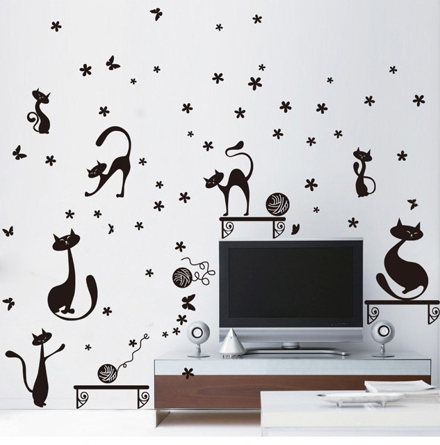 Buy 7 cute bent cats wall sticker decals for Removing vinyl wallpaper