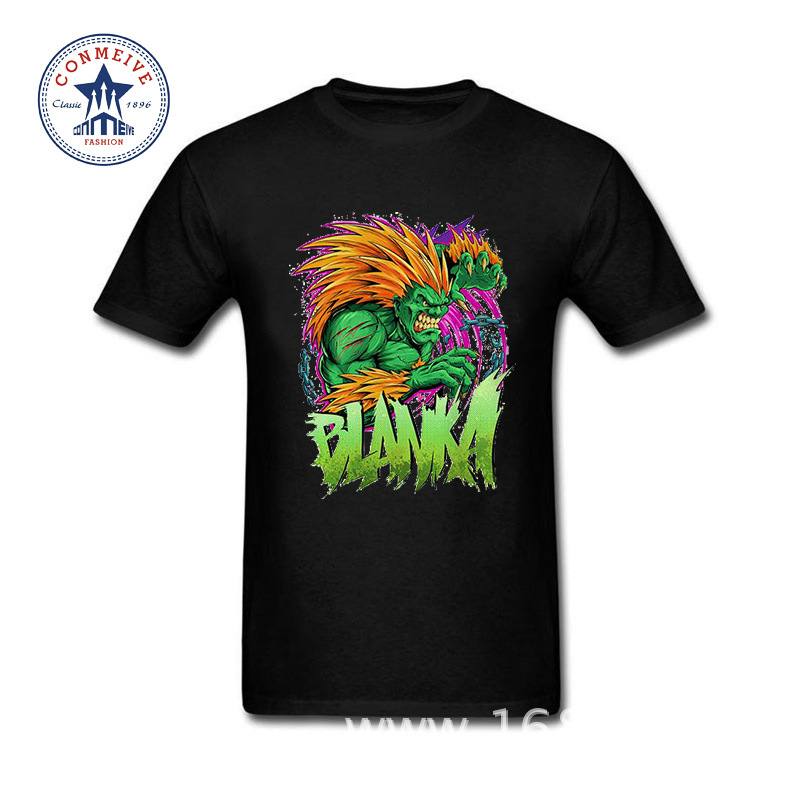 2017 Hot Selling Funny Blanka In Game Street Fighter Green Funny Cotton T Shirt for men(China (Mainland))