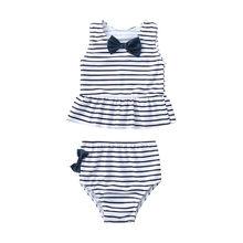 Купальник в полоску с бантом для маленьких девочек, летняя одежда для купания, комплект для маленьких мальчиков и девочек, бикини, комплект ...(China)