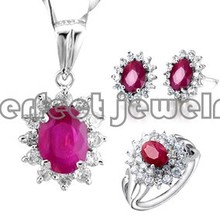 Ruby set Free shipping Real natural ruby 1pc pendant 1pc ring 1pc stud earring 925 sterling silver For wedding ruby(China (Mainland))