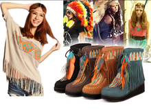 Indian Style Retro Fringe Boots Flock Chunky Feather Women Ankle Short Boots Tassels Big Size Shoes Plus Size EU 44 45(China (Mainland))