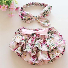 Floral Bloomer Shorts Woolen Baby Ruffle Bloomer with Diaper covered Matching Flower Headbands Newborn Photography Props