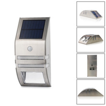 Free Shipping Waterproof 2 LED 120LM PIR Solar Motion Sensor Lamp Garden Yard Outdoor Wall Pathway