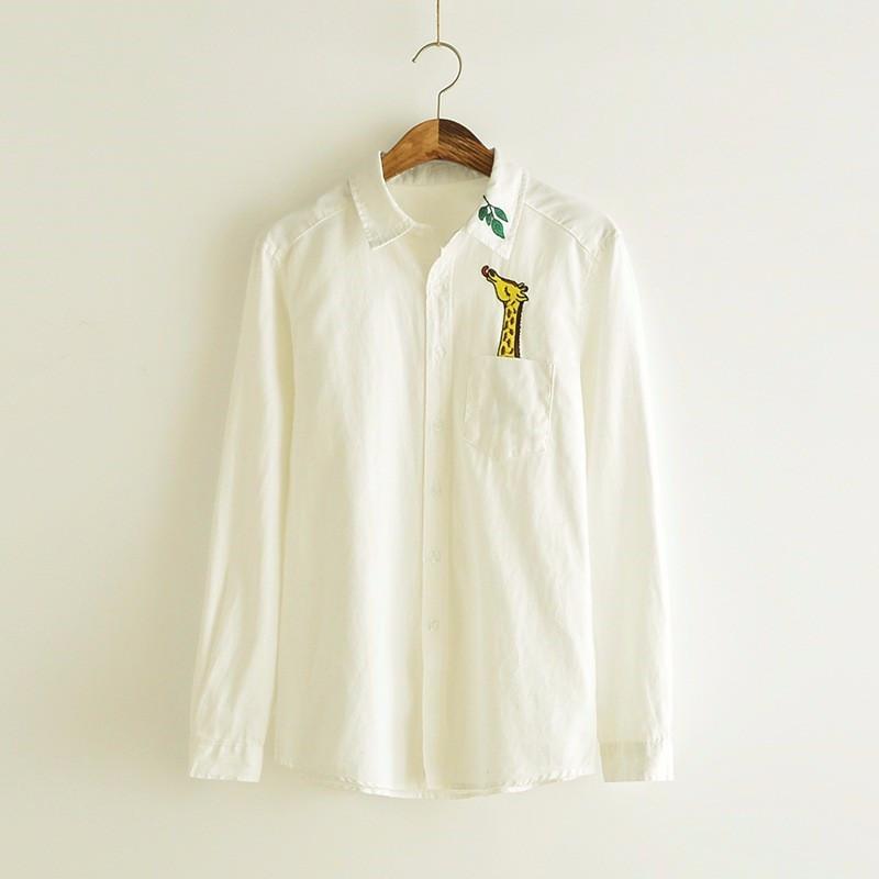 Popular giraffe pan buy cheap giraffe pan lots from china for White cotton shirt peter pan collar