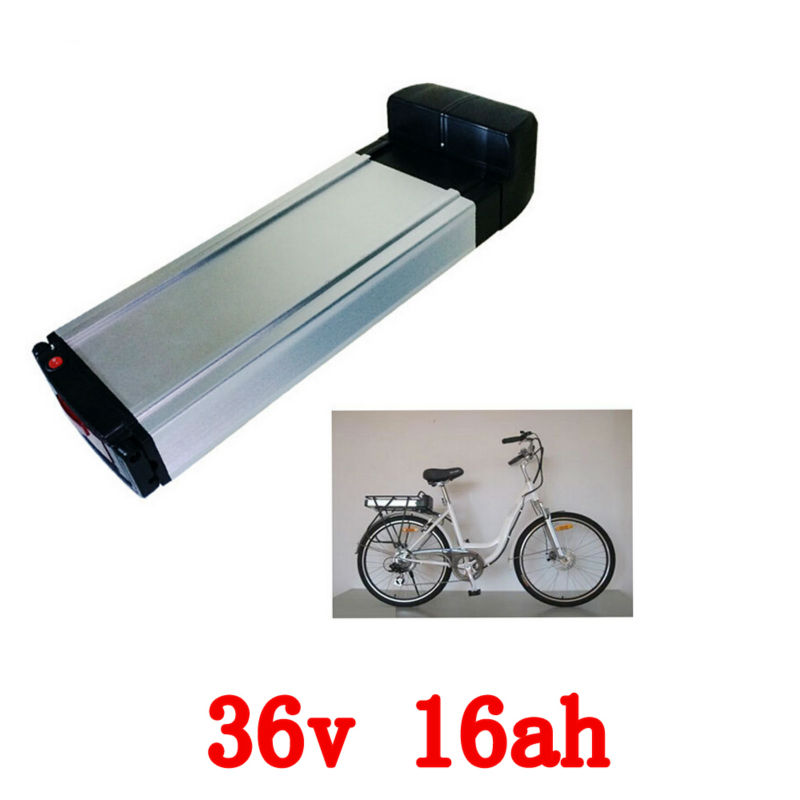 36v 16AH rear rack shelf electric bike battery lithium battery power battery,bottom discharge port,Aluminum housing,with charger(China (Mainland))