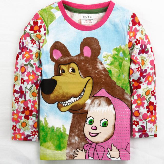 Кнб весна осень девушки футболка мультфильм маша и медведь одежда с длинным рукавом дети футболка хлопок детские малыш цветок футболка AT153