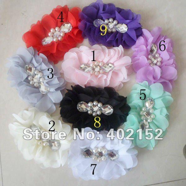 Sewn pearl diamond 4inch stunning silky tulle chiffon hair flower hair accessories for women  headband wedding lady hairwear