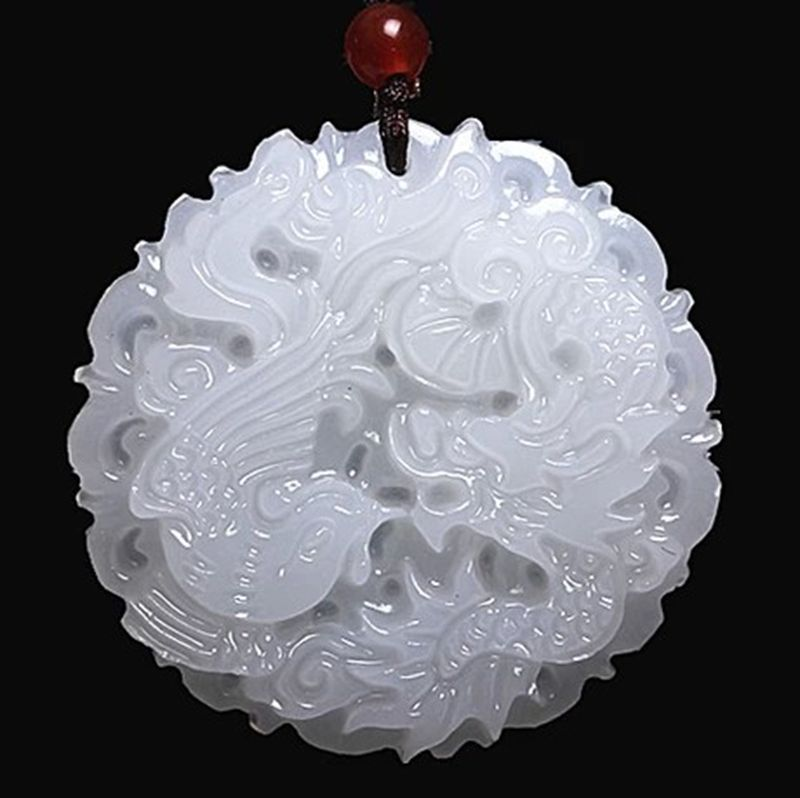 Chinese Dragon Natural White Pendant Jade Afghanistan Natural Stone Pendant Hand Made Charms Charm(China (Mainland))