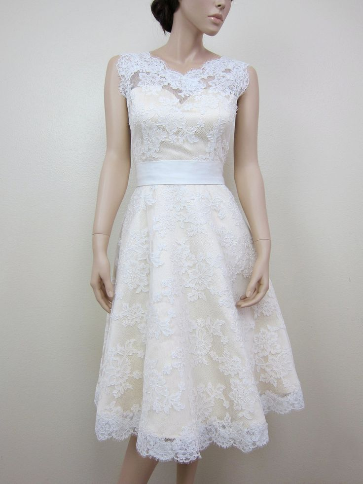 Nice a line pretty girl short wedding dress with belt for Short lace dresses for weddings