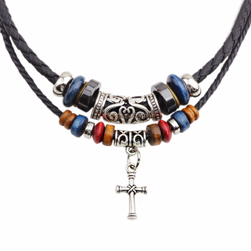 Best Deal New Diomedes Unisex Men Women Double Braided Rope Beads Vintage Cross Adjustable Pendant Necklace Gift 1PC(China (Mainland))