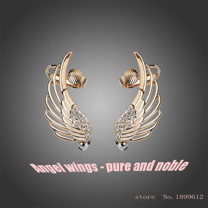 Stud Earrings, exquisite crystal angel wings ear clip, retro punk style earrings<br><br>Aliexpress