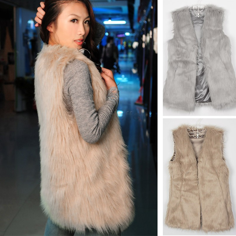 Holiday Sale Women Faux Fur Vest Winter Warm Coat Outwear Long Hair Jacket Waistcoat Tops Plus Size S-3XL 25(China (Mainland))