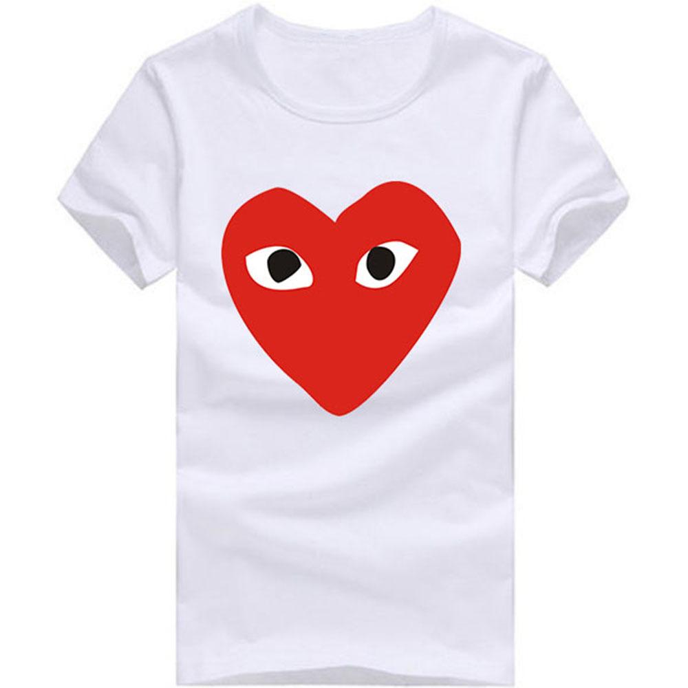 High Quality GARCONS CDG PLAY Heart Shaped T Shirts Men Short Sleeve O Neck Man T-Shirt Euro size Mens Tees Tops Shirt(China (Mainland))