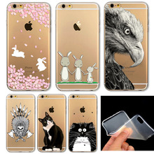 6 s мягкий тонкий тпу прозрачный мягкий телефон сумки чехол для iphone 6 4.7 » симпатичные животные кошка сова кролик шаблон окрашенные телефон чехол