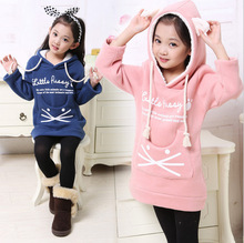 2015 new autumn and winter girls hoodies girls sweatshirts Kids Hoodies Girl's kitty Sweatshirts Long Sleeve Girl's Coat(China (Mainland))