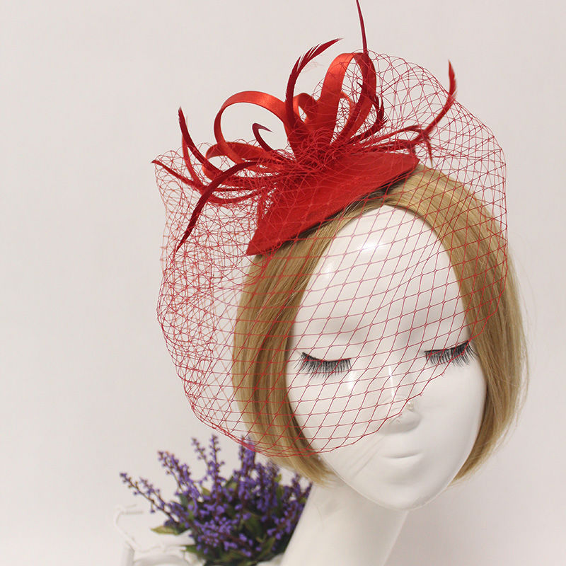 Ladies fascinators black/ cream Red flower feather sinamay hats women hair accessories elegant fascinators for party and races(China (Mainland))