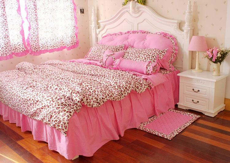 Korean pink leopard print princess bedding comforter set full queen size duvet cover quilt bed - Cheetah print queen comforter set ...