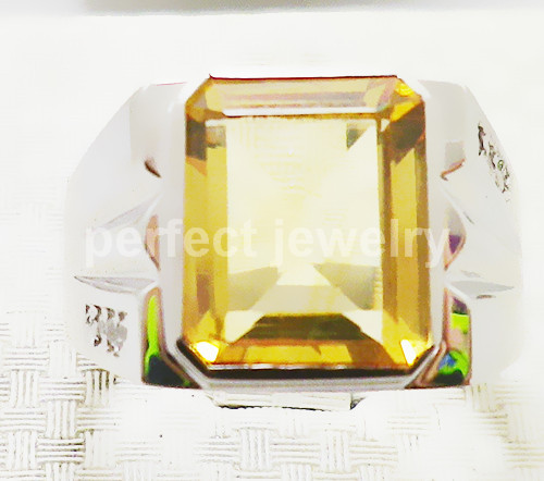 Men rings Citrine ring Yellow crystal Free shipping Natural real citrine ring 925 sterling silver For men or women #33(China (Mainland))
