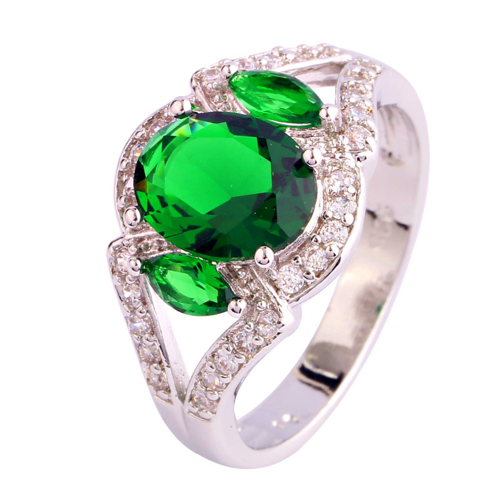 Buy Fashion Style Fascinate Women Rings Jewelry Oval Cut Green Emerald Quartz