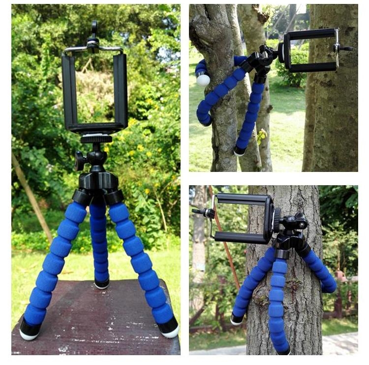 HOT SALE BLUE color For iPhone Cell Phone Digital Camera Octopus Stand Tripod Mount + Phone Holder CSJZK019(China (Mainland))