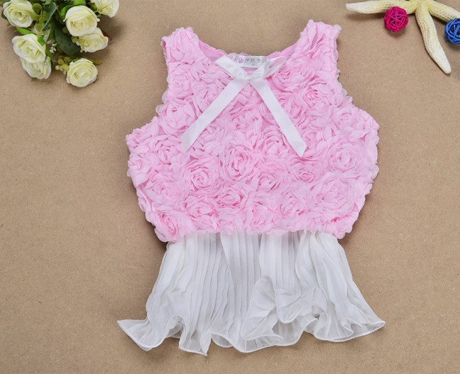 EMS DHL Free Shiping Baby Girls Tulle Bow Vest Rostte One Piece Summer Princess Holiday Party Dress Children clothes