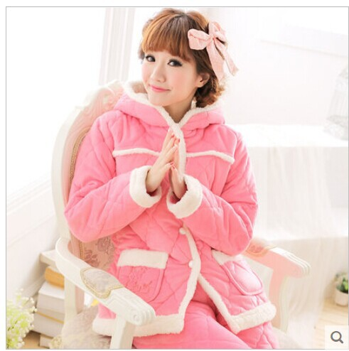Winter Velvet Thick Warm Lovely Coral Cotton Home Furnishing Suit Wear Leisure 6428 - Darewin's Fashion Store store