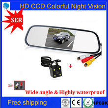 2 in 1 HD Video Car Parking System LED Night Vision Reversing CCD Car Rear View Camera With 4.3 inch Car Rearview Mirror Monitor(China (Mainland))