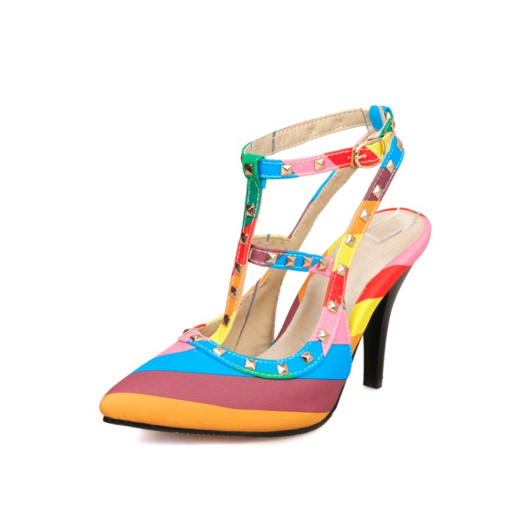Big size 34-51 New 2016 summer style  ankle-strap Rainbow Color women high heel sandals Sexy pointed toe women shoes  E1283<br><br>Aliexpress